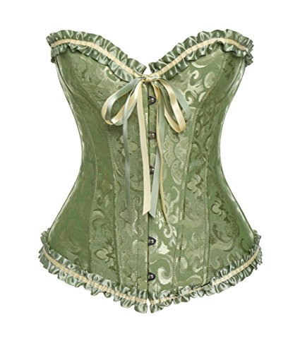 Palace Bustiers - VASLANDA Womens Sexy Lace Floral Print Corset Palace Overbust Bustier Bodyshaper Top