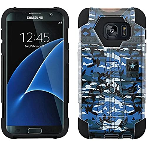 Samsung Galaxy S7 Edge Hybrid Case Army Blue Camouflage Uniform 2 Piece Style Silicone Case Cover with Stand for Sales
