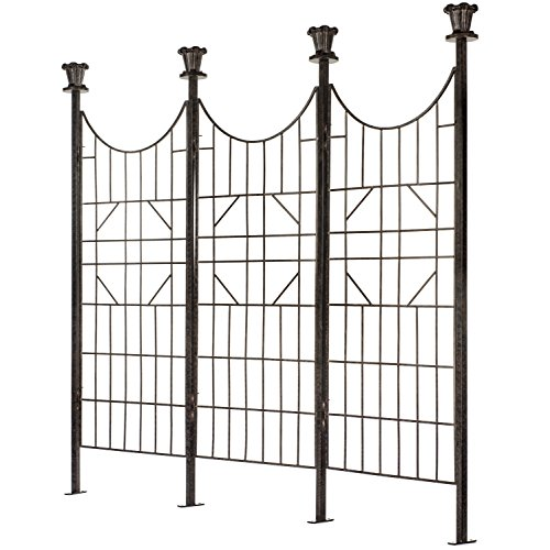 H Potter Large Iron Garden Trellis Screen/Patio Screen Fence (Metal Cast Finial)