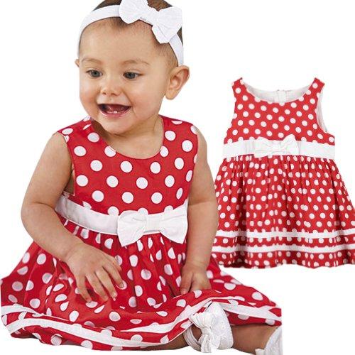 LaLaMa Baby Girls' Polka Dot Bowknot Banded Waist Pleated Dress