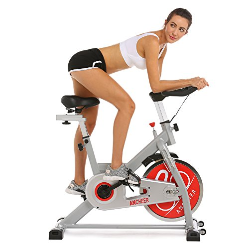 ANCHEER Indoor Cycling Bike, Belt Drive Indoor Exercise Bike with 49 LBS Flywheel