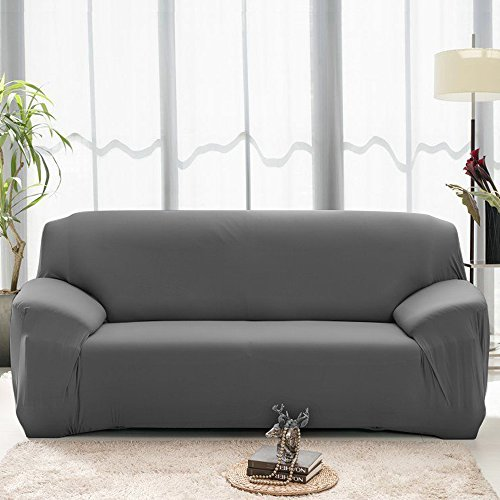 (Boshen Stretch Seat Chair Covers Couch Slipcover Sofa Loveseat Cover 9 Colors/4 for 1 2 3 4 Four People Sofa + 1 Pillowcase (91