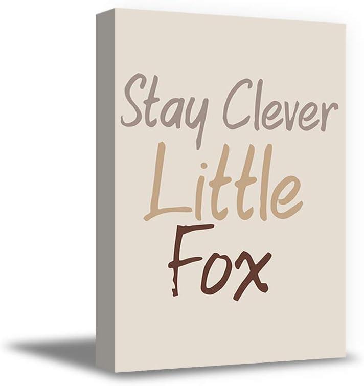 """Awkward Styles Stay Clever Little Fox Canvas Decor Motivational Quotes Kunst für Kids Baby Nursery Zimmer Kids spielen Zimmer Girls Bedroom Wall Kunst 32"""" X 40"""" nicht Frame"""