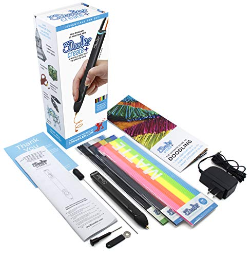 3Doodler Create+ 3D Printing Pen for Teens, Adults & Creators! - Onyx Black (2019 Model) - with Free Refill Filaments + Stencil Book + Getting Started Guide