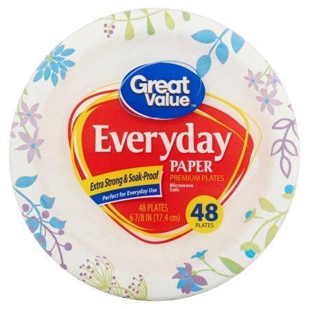 "Great Value Everyday Paper Premium Plates, 6"" - 48 Count"