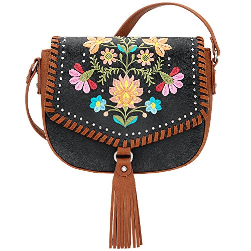 AMERICAN WEST BANDANA LEATHER MAYA FLAP CROSSBODY LADIES HANDBAG CHARCOAL by Bandana By American West