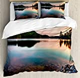 Lake Duvet Cover Set King Size by Ambesonne, Lake Allatoona at Red Top Mountain State Park North of Atlanta Scenic Spring Sunrise, Decorative 3 Piece Bedding Set with 2 Pillow Shams, Multicolor