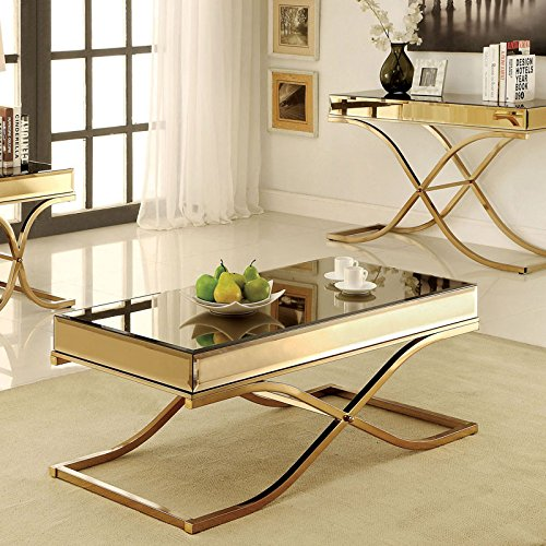 glass and brass coffee table - 8
