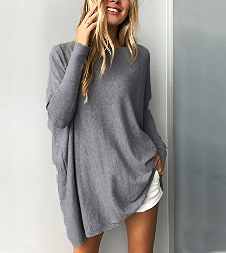 Chemise Tops Yieune Casual Pullover Tunique Pull Blouse Femme Jumper Manche Longue Oversize Gris BwwvOHZq