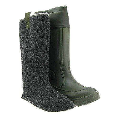 GALLUX - Herren EVA Regenstiefel Gummistiefel mit Stiefelsocke aus 100% Wolle Grün