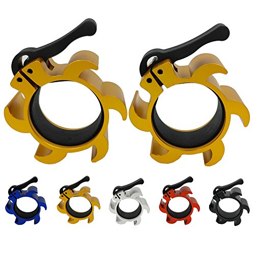 um Barbell Collars, Locking Olympic 2 Inch Size Weight Barbell Plate Clips Workout 2'' Diameter Weights Bar Clamps for Crossfit/Olympic Lifts/Strength Training (Gold) ()