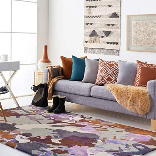 Cordillera One Light - Cordillera Contemporary Global 5' x 8' Rectangle Modern 100% Wool Violet/Dark Purple/Light Gray/Bright Purple/Mauve/Dark Brown/Taupe/Cream Area Rug