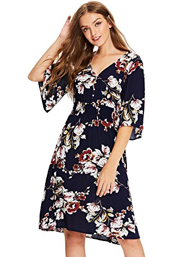 - Milumia Women's Boho Button Up Split Floral Print Flowy Party Dress Large Multicolor-6