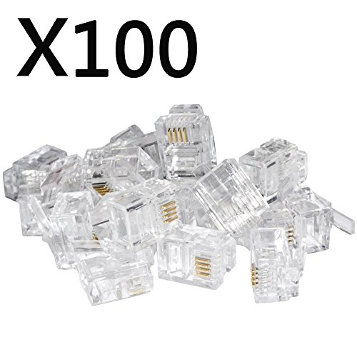100PACK Telephone Plug 6P4C RJ11 Modular Plug (6/4, Telephone Cord Connector) (Connector Telephone)