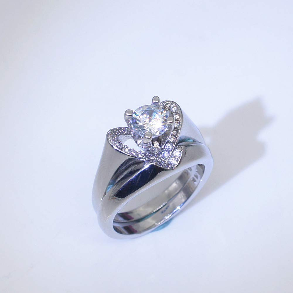 2pc Rings Set,Swyss Creative Heart-shaped Diamond Ring Engagement Promise Anniversary Jewelry Gift