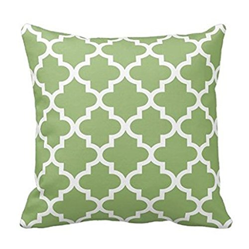 Olive Green and White Moroccan Quatrefoil Pattern Throw Pill