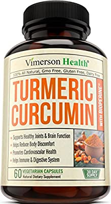 Turmeric Curcumin with Bioperine Anti-Inflammatory, Antioxidant & Anti-Aging Supplement with 10mg of Black Pepper for Better Absorption. 100% All Natural & Non-Gmo Joint Pain Relief