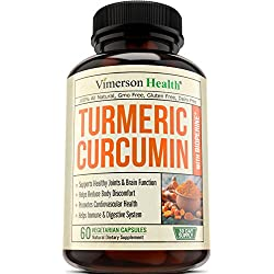 Turmeric Curcumin with Bioperine Joint Pain Relief - Anti-Inflammatory, Antioxidant & Anti-Aging Supplement with 10mg of Black Pepper for Better Absorption. Best 100% All Natural Non-Gmo Made in USA