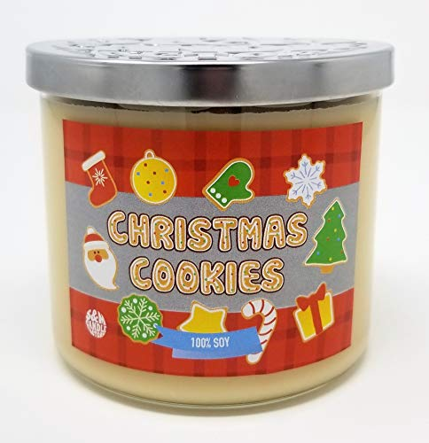 S&M Candle Factory Christmas Cookie Candle ~ 3 Wick Scented Soy Wax 14.5oz Candle ~ 80 Hour Burn Time ~ Made in USA (14.5 oz Cream) (Yankee Candle Factory)
