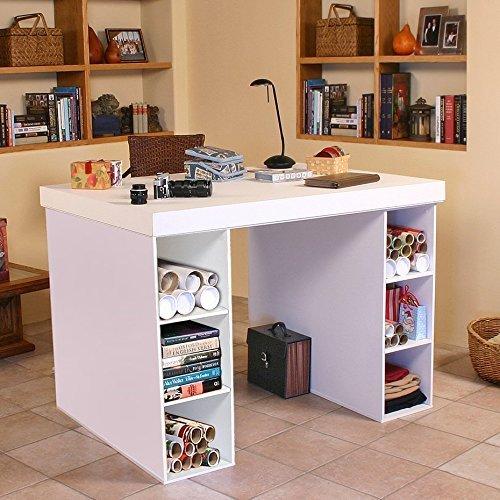 Venture Horizon Project Center Desk with 2- 3 Bin Cabinets-White