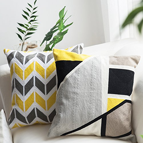 Lananas Modern Decorative Throw Pillow Covers for Couch Geometric Home Cushion Pillow Cover for Bed 18'' x 18'' (Slash) by Lananas (Image #4)