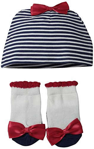 Lovespun Baby-Girls Newborn Nautical Stripe 2 Piece Hat and Sock Set, Navy, 0-6 - Piece 3 Stripe Stockings
