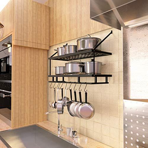 KES 30-Inch Kitchen Pan Pot Rack Wall Mounted Hanging Storage Organizer 2-Tire Wall Shelf with 12 Hooks Matte Black, KUR215S75B-BK by Kes (Image #2)