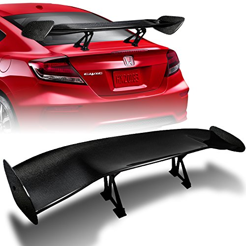 "HK5 57"" Type-2 3D Universal Real Carbon Fiber Adjustable Rear Trunk GT Spoiler Wing"