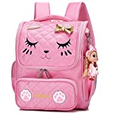 Cute Backpacks for Girls Primary Elementary School Animal Cat Face Kids Bookbags (Pink) Review