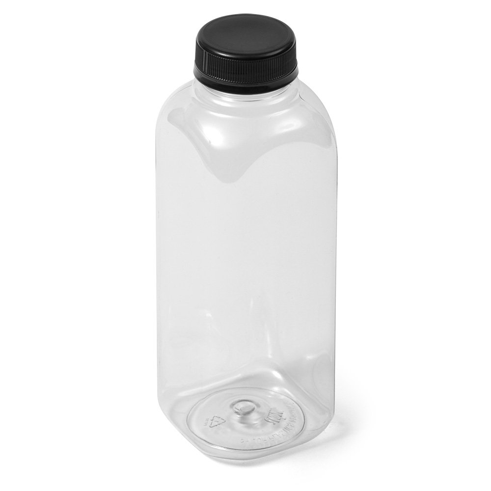 Clear Square IPEC PET Bottle - 16 fl oz - Black IPEC Cap by Sailor Plastics