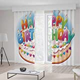 Door Curtain,Birthday Decorations for Kids for Living Room,Cartoon Happy Birthday Party Image Cake Candles Hearts Print,196Wx104L Inches