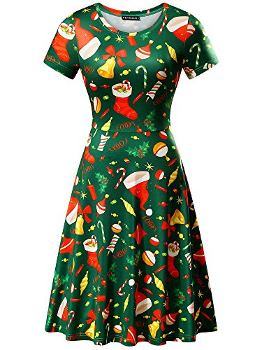 FENSACE Womens Short Sleeves Casual A-line Green Tree Printed Christmas Dress (Small, Bell&Hat Green)