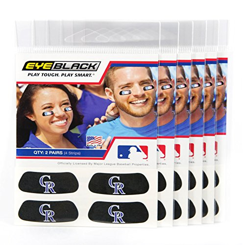 ((24 Strips) Eye Black - Colorado Rockies MLB Eye Black Anti Glare Strips, Great for Fans & Athletes on Game Day)