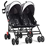 Cheap Baby Joy Double Light-Weight Stroller, Travel Foldable Design, Twin Umbrella Stroller with 5-Point Harness, Cup Holder, Sun Canopy for Baby, Toddlers (Gray)