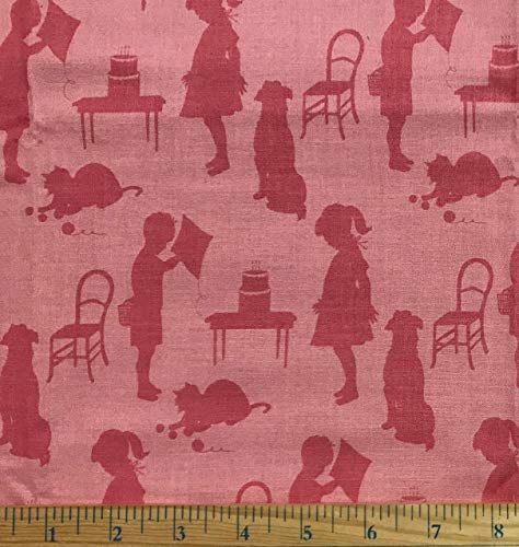 Dick Jane Fabric - 1/2 Yard - Retro Children Dick & Jane Style on Coral Pink Cotton - Anna Griffin Design (Great for Quilting, Sewing, Craft Projects, Throw Pillows & More) 1/2 Yard X 44