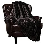"Chanasya Super Soft Shaggy Longfur Throw Blanket | Snuggly Fuzzy Faux Fur Lightweight Warm Elegant Cozy Plush Sherpa Fleece Microfiber Blanket | for Couch Bed Chair Photo Props - 50""x 65"" - Black"