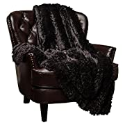 Chanasya Super Soft Shaggy Longfur Throw Blanket | Snuggly Fuzzy Faux Fur Lightweight Warm Elegant Cozy Plush Sherpa Fleece Microfiber Blanket | For Couch Bed Chair Photo Props - 60 x 70  - Black