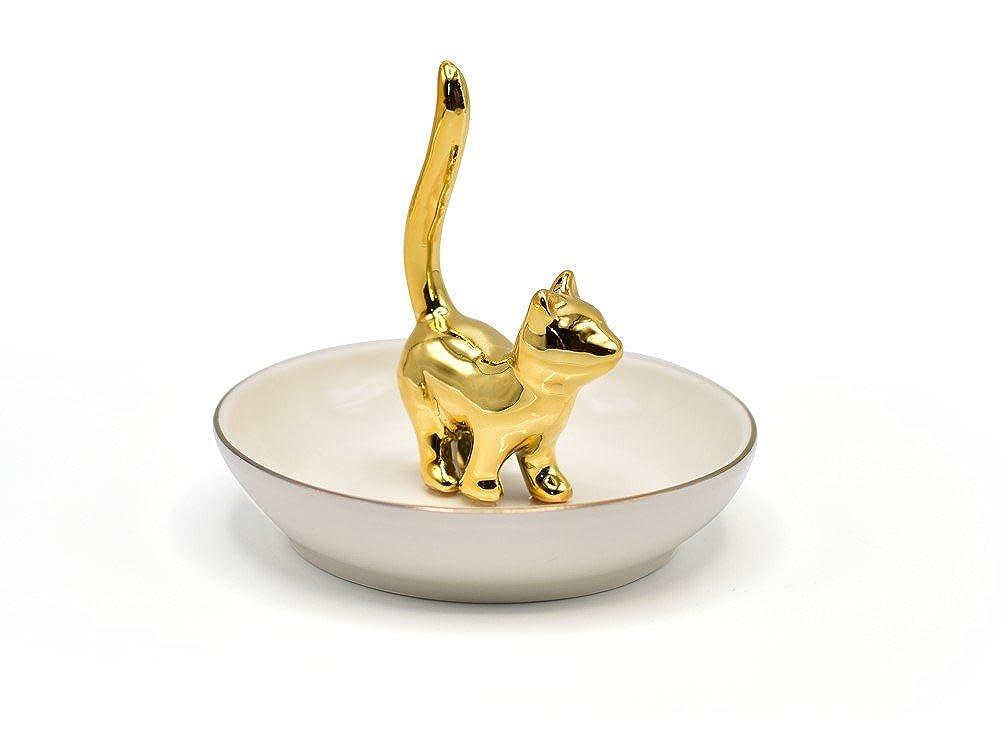 ROSA/&ROSE Keramik Kitty Ring Inhaber Gericht f/ür Jewelry Porzellan-Tablett Schmuckk/ästchen Teller
