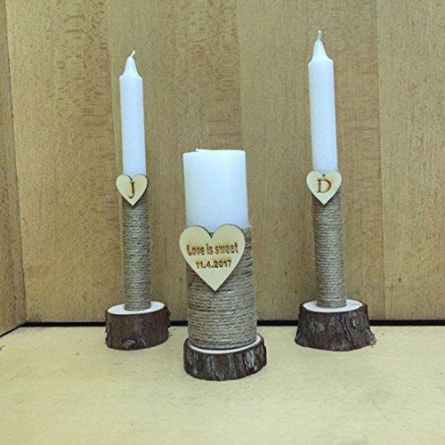 Rustic Unity Candle Set Personalized Unity Wedding Candles Burlap Ceremony Love is sweet Wedding Candles Set