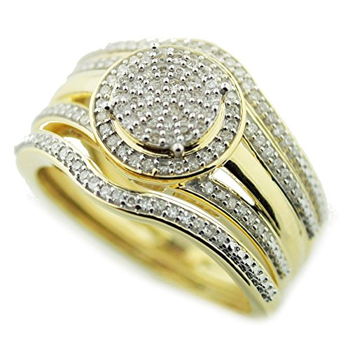Wedding-Ring-Set-3-Piece-13cttw-Round-Halo-Engagement-Ring-and-2-Band-Matching-I2i3-Ij