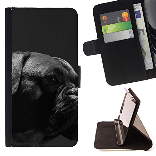 All Phone Most Case / Special Offer Smart Phone Leather Wallet Case Protective Case Cover for HTC ONE A9 // Boxer Breed Canine Dog Pet Black Muzzle