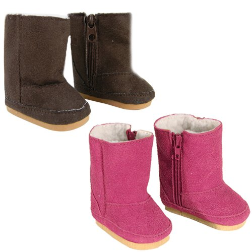 2 Pair Faux Suede Boots, Pink, Brown