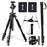 "Vanguard Alta Pro 264AB 100 Aluminum Tripod Kit, 2 Vanguard QS-39 Quick Shoes, Ritz Gear Cleaning Kit, Ritz Gear Tripod Stone Bag and 72"" Heavy Duty Monopod"