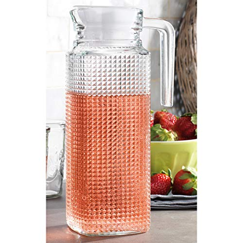 Glass Ware Diamond Cut Pitcher with Lid & Handle (Lid is White) Use for All Drinks, Punch, Milk, Water, Tea, Coffee, Juices and More - 9