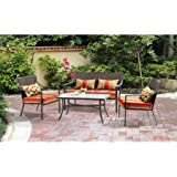 Lovely Mainstays Alexandra Square 4 Piece Patio Conversation Set, Red Stripe With  Butterflies, Seats 4