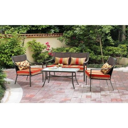 Mainstays Alexandra Square 4-Piece Patio Conversation Set, Red Stripe with Butterflies, Seats (Butterfly Patio Set)