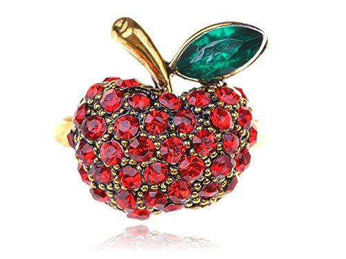 Gold Tone Rhinestone Ring (Alilang Womens Adjustable Gold Tone Red Rhinestones Snow White Apple Fruit Leaf)