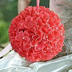 "Efavormart 4 Pack 7"" Coral Silk Hydrangea Kissing Flower Balls Wedding Centerpieces Decoration"