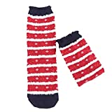 AKwell Women Christmas Anti-Slip Fluffy Fuzzy Slipper Socks Cute Animals Striped Warm Winter Crew Socks