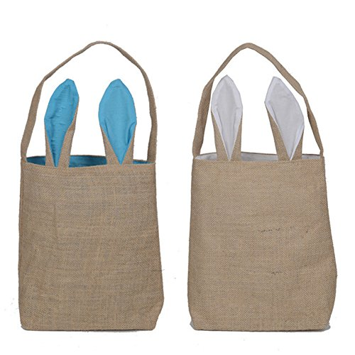 - 2 Pack Easter Gift Bag Dual Layer Bunny Ears Design Jute Cloth Bag for Party (Blue,White) by Loves Town